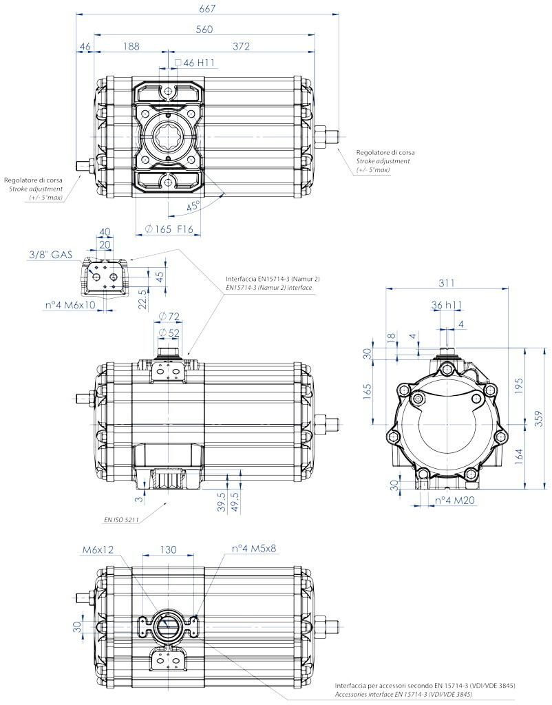 Aluminium GD (double acting) pneumatic actuator - dimensions - Double acting pneumatic actuator size GD2880 (Nm)