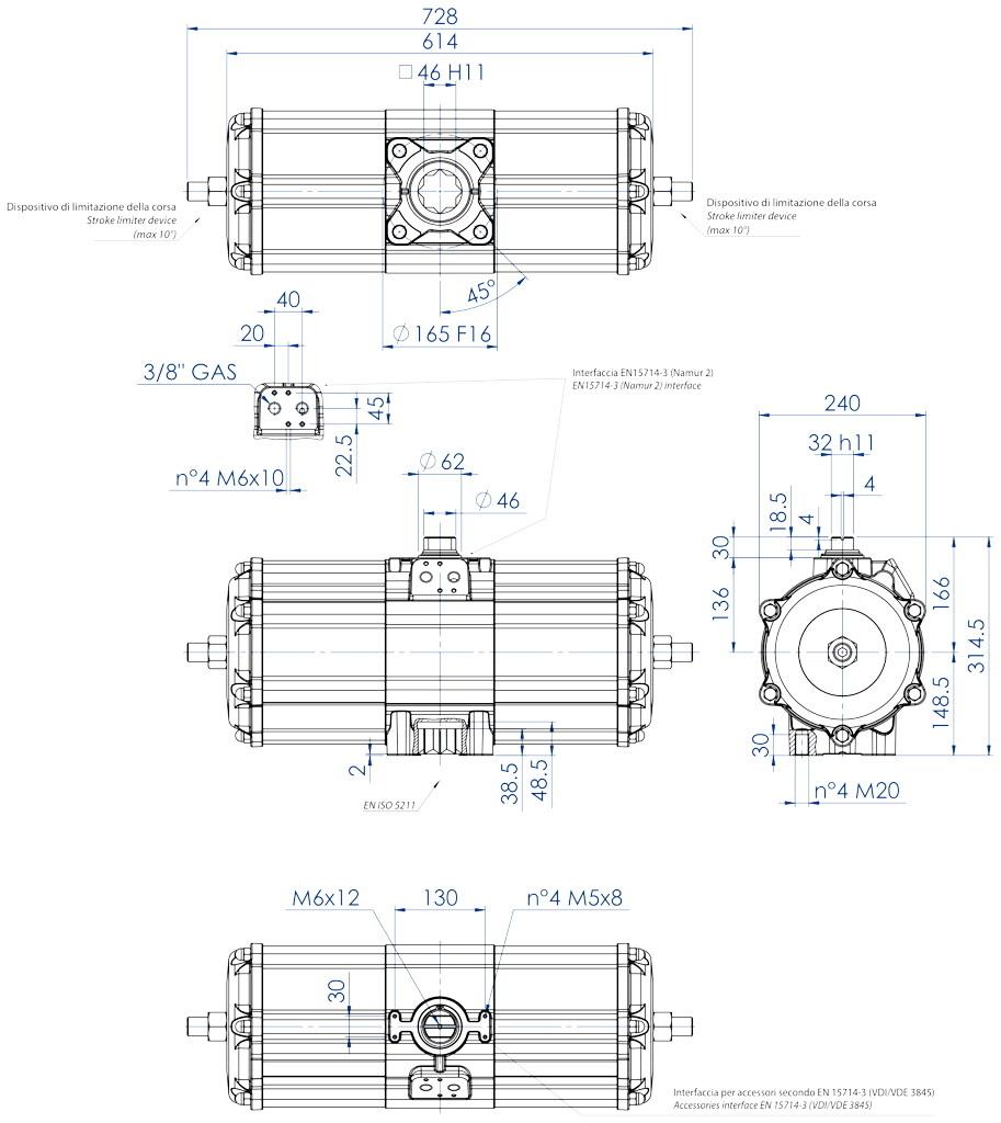 Aluminium GD (double acting) pneumatic actuator - dimensions - Double acting pneumatic actuator size GD3840 (Nm)