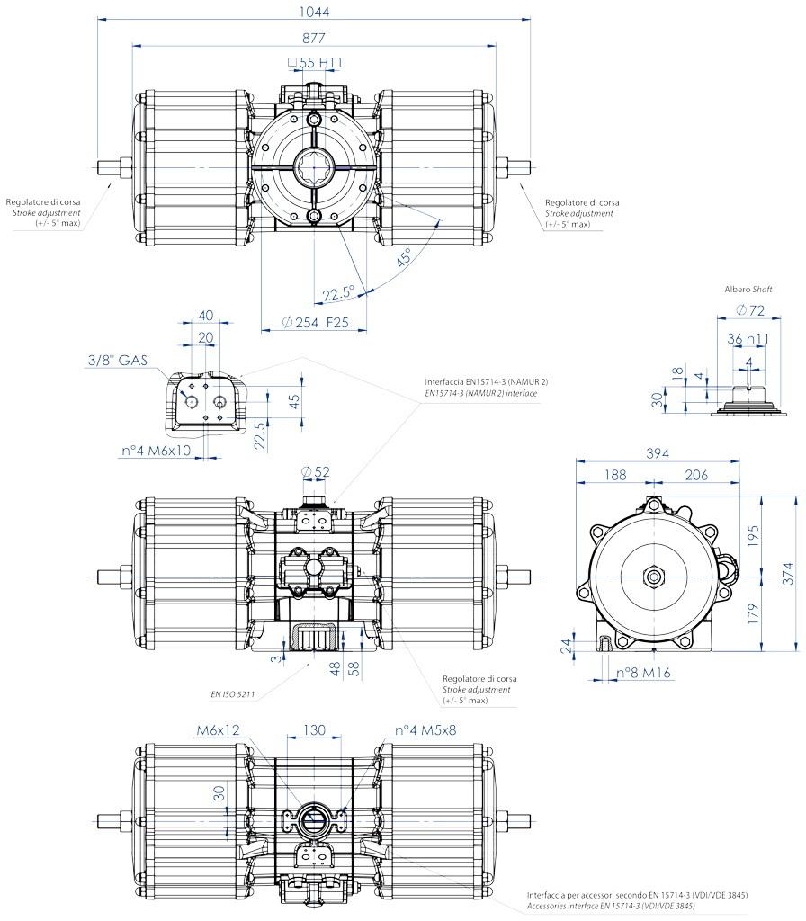 Aluminium GD (double acting) pneumatic actuator - dimensions - Double acting pneumatic actuator size GD8000 (Nm)