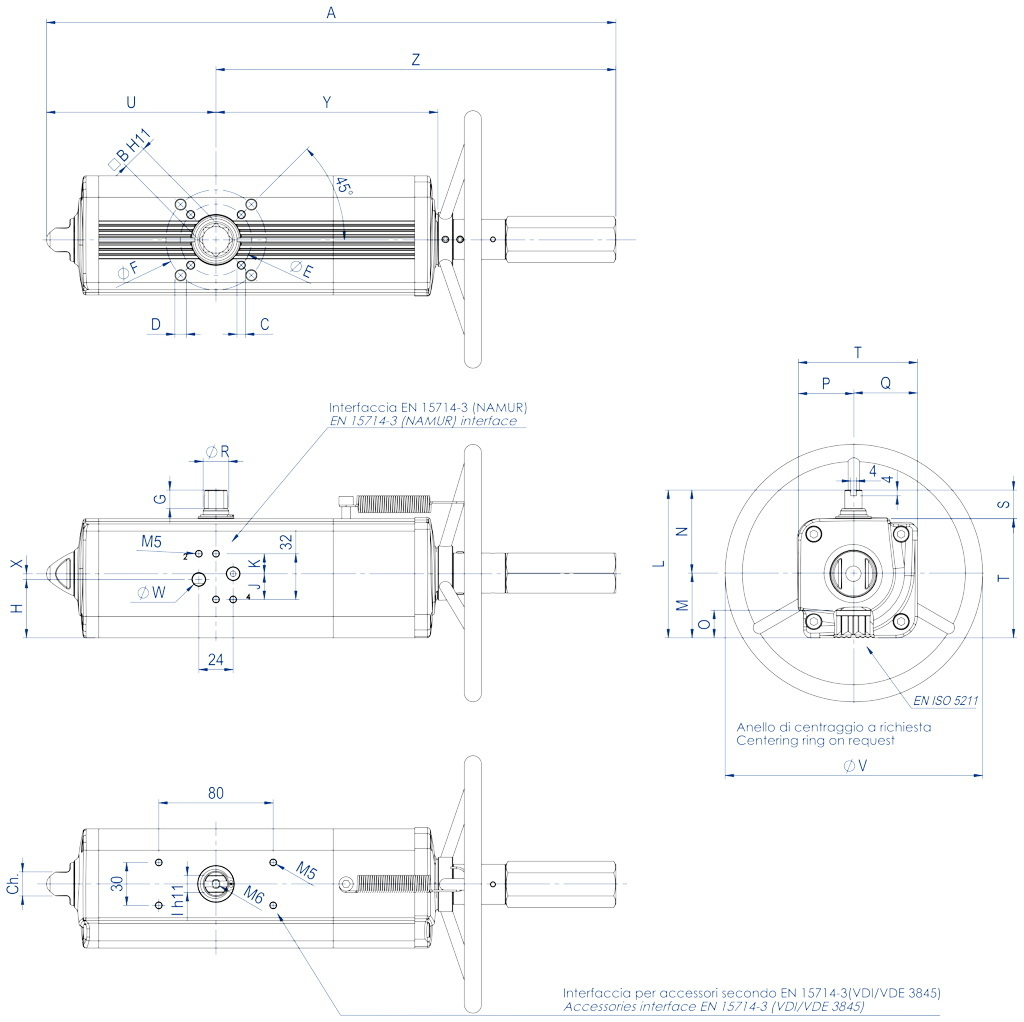GDV (double acting) pneumatic actuator with integrated manual control - dimensions - GDV60 ÷ GDV1920
