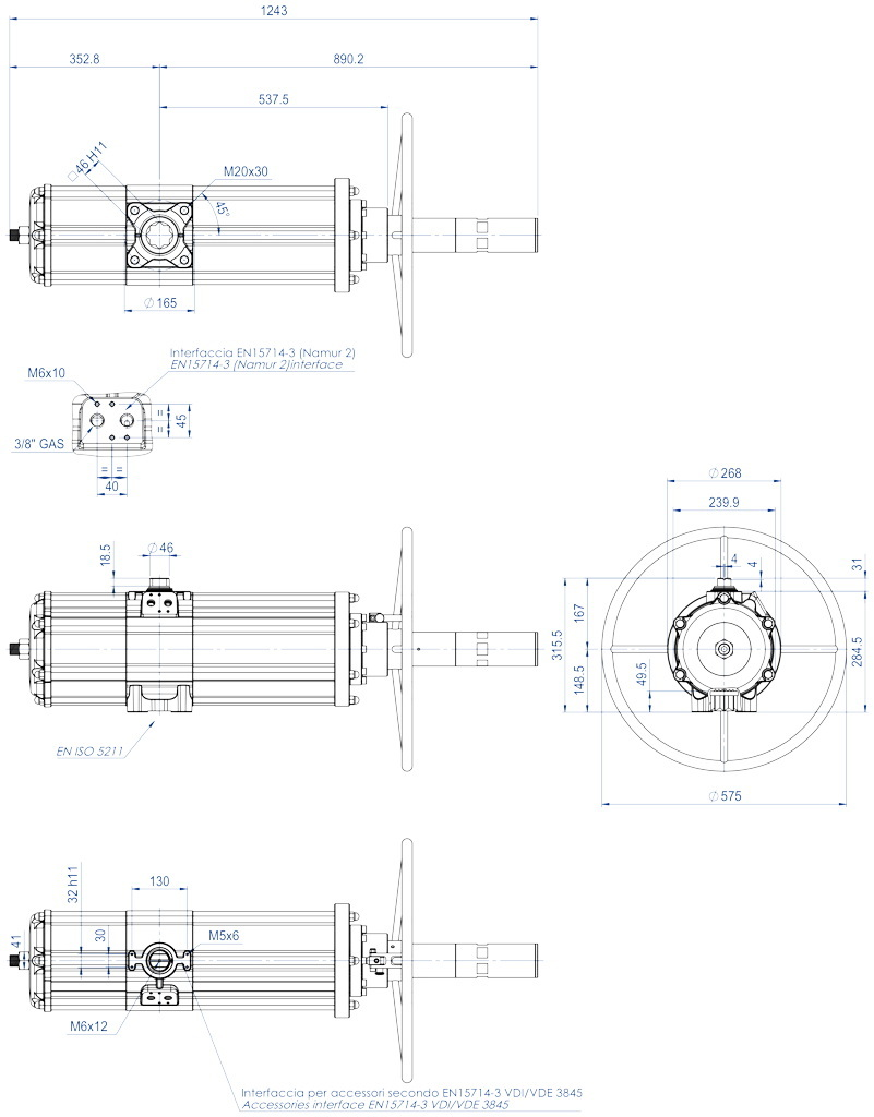 GDV (double acting) pneumatic actuator with integrated manual control - dimensions - GDV3840