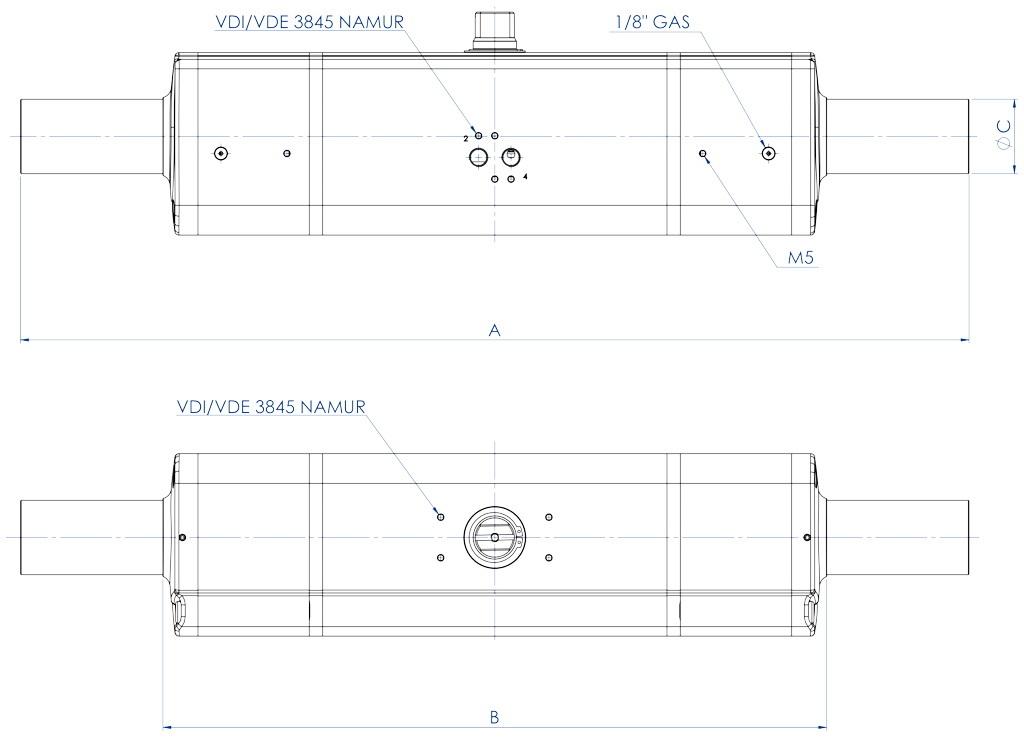 GDD aluminium pneumatic dosing pump actuator - dimensions -