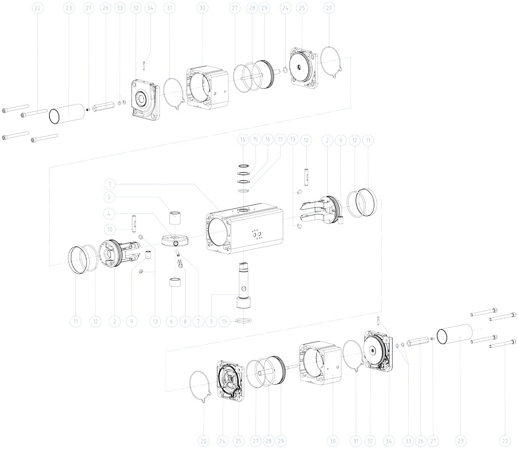 GDD aluminium pneumatic dosing pump actuator - materials - TWO STAGE PNEUMATIC ACTUATOR COMPONENTS SIZE: GDD30 - GDD480