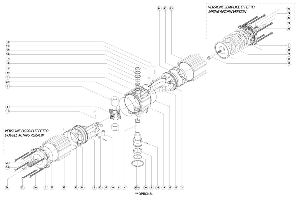 Aluminium GD (double acting) pneumatic actuator - materials - DOUBLE ACTING PNEUMATIC ACTUATOR COMPONENTS SIZE: GD3840