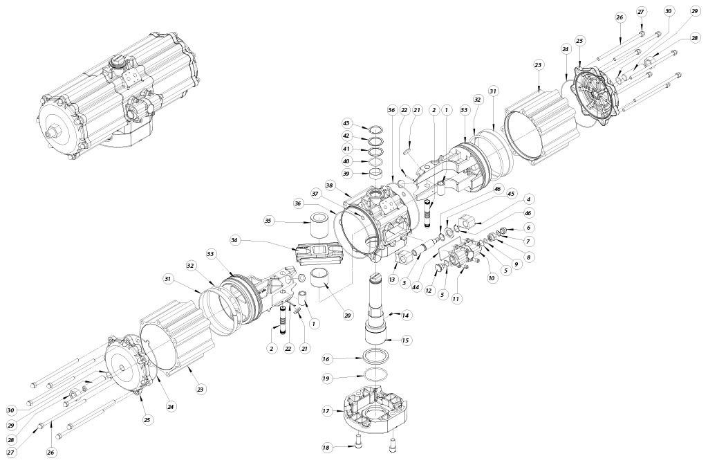 Aluminium GD (double acting) pneumatic actuator - materials - DOUBLE ACTING PNEUMATIC ACTUATOR COMPONENTS SIZE: GD5760