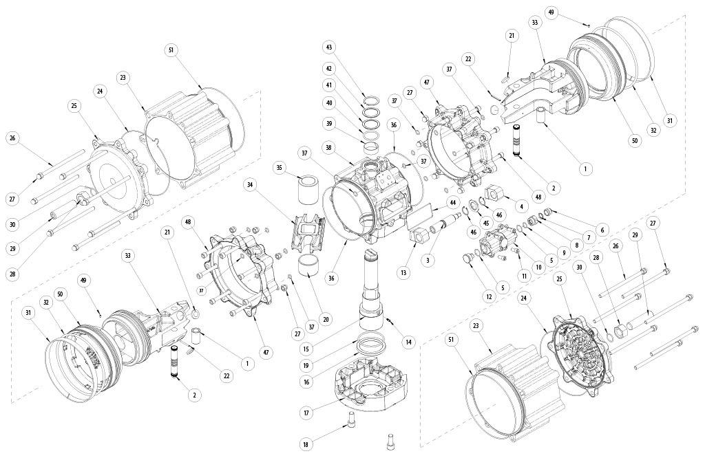 Aluminium GD (double acting) pneumatic actuator - materials - DOUBLE ACTING PNEUMATIC ACTUATOR COMPONENTS SIZE: GD8000