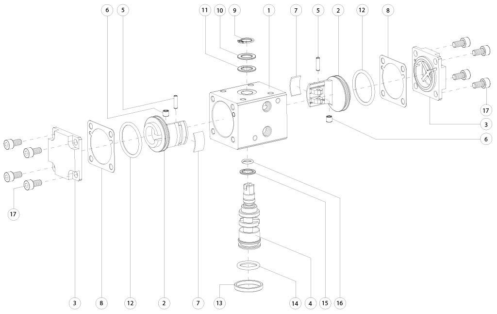 Aluminium GD (double acting) pneumatic actuator - materials -  DOUBLE ACTING PNEUMATIC ACTUATOR COMPONENTS SIZES: GD8