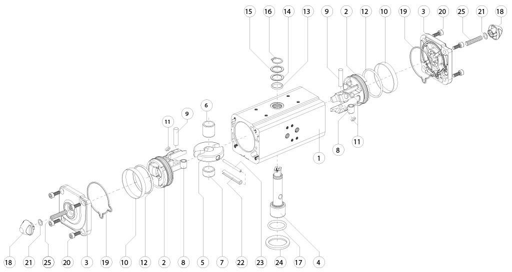 Aluminium GD (double acting) pneumatic actuator - materials - DOUBLE ACTING PNEUMATIC ACTUATOR COMPONENTS SIZE: GD15-GD1920