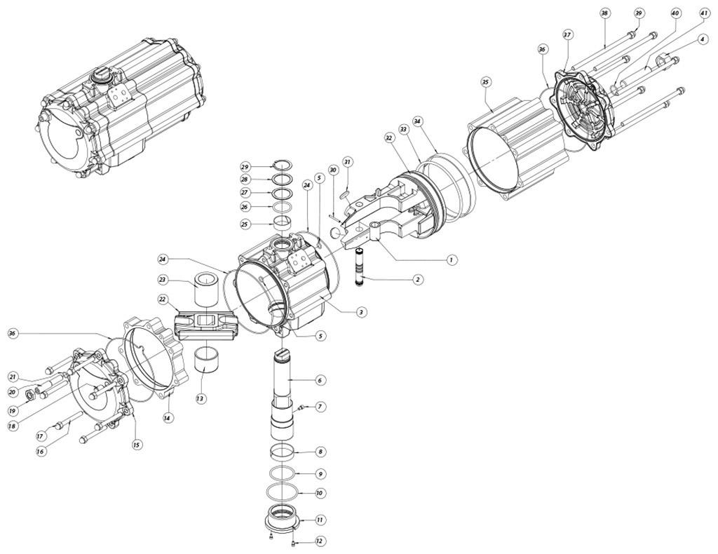 Aluminium GD (double acting) pneumatic actuator - materials - DOUBLE ACTING PNEUMATIC ACTUATOR COMPONENTS SIZE: GD2880