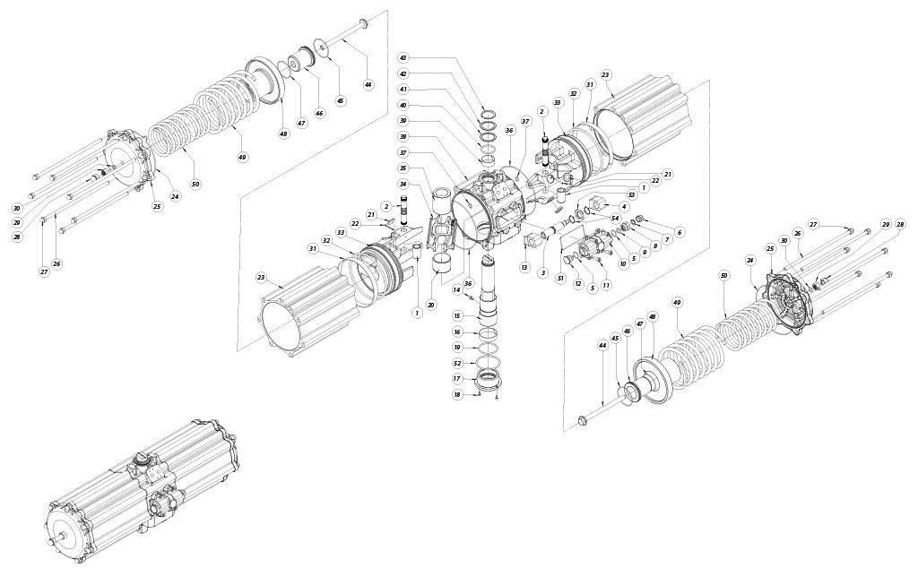 Aluminium GS (spring return) pneumatic actuator - materials - SPRING RETURN PNEUMATIC ACTUATOR COMPONENTS SIZE: GS2880