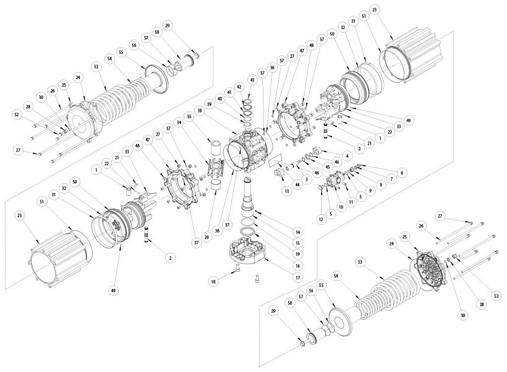 Aluminium GS (spring return) pneumatic actuator - materials - SPRING RETURN PNEUMATIC ACTUATOR COMPONENTS SIZE: GS4000