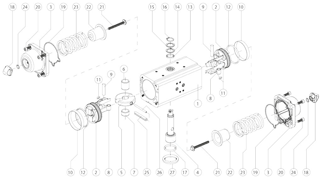 Aluminium GS (spring return) pneumatic actuator - materials - SPRING RETURN PNEUMATIC ACTUATOR COMPONENTS SIZE: GS15-GS960