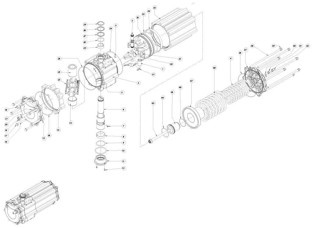 Aluminium GS (spring return) pneumatic actuator - materials - SPRING RETURN PNEUMATIC ACTUATOR COMPONENTS SIZE: GS1440