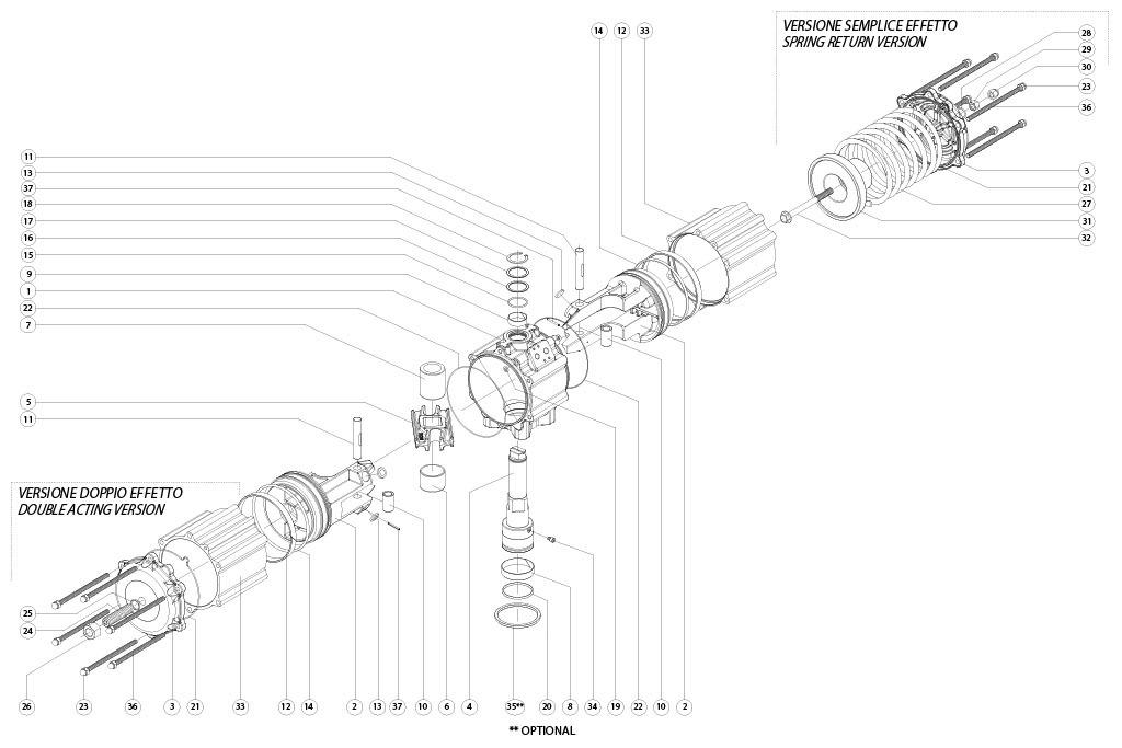 Aluminium GS (spring return) pneumatic actuator - materials - SPRING RETURN PNEUMATIC ACTUATOR COMPONENTS SIZE: GS1920