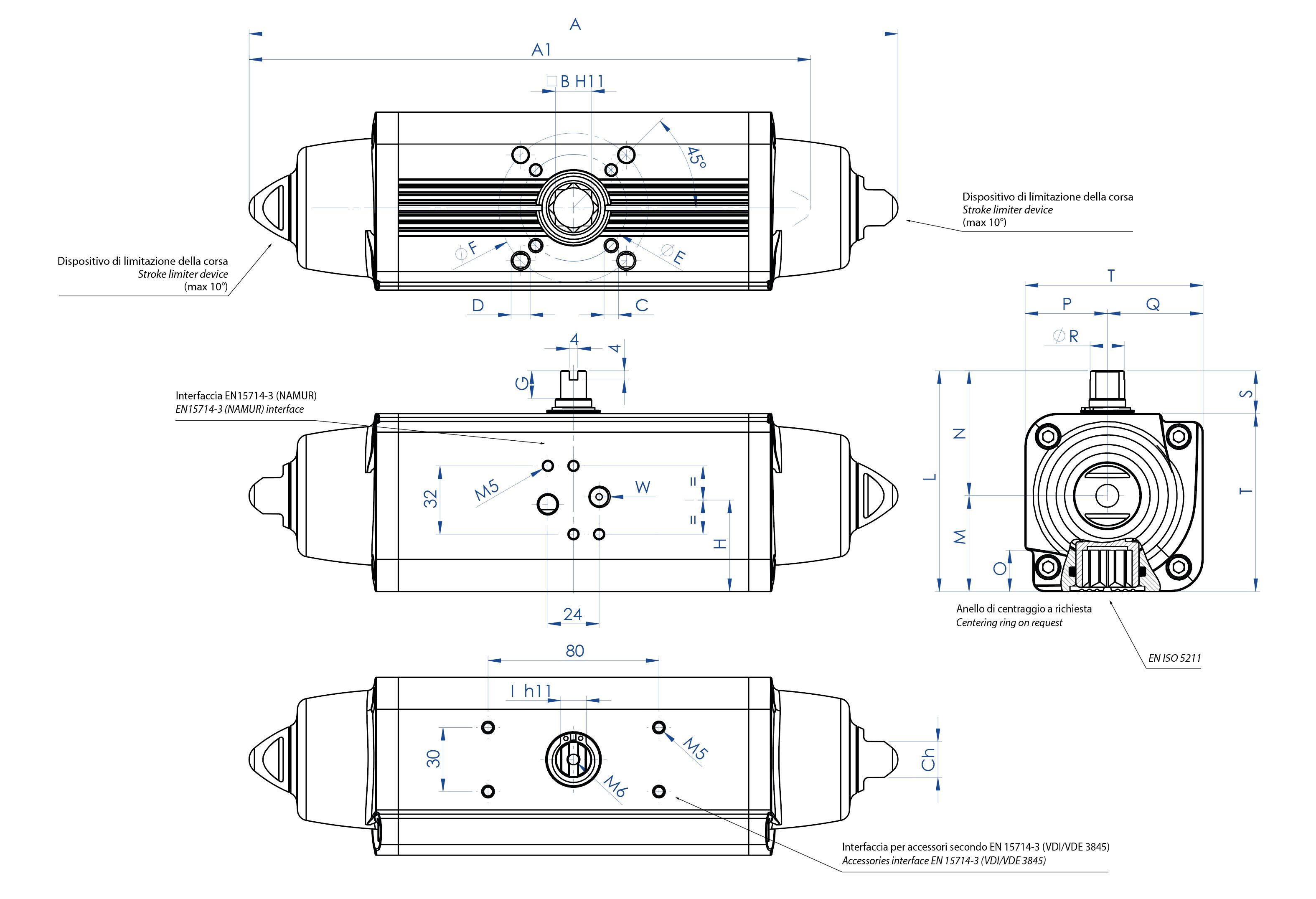 Aluminium GS (spring return) pneumatic actuator - dimensions -  Spring return pneumatic actuator sizes from GS15 (Nm) to GS960 (Nm)