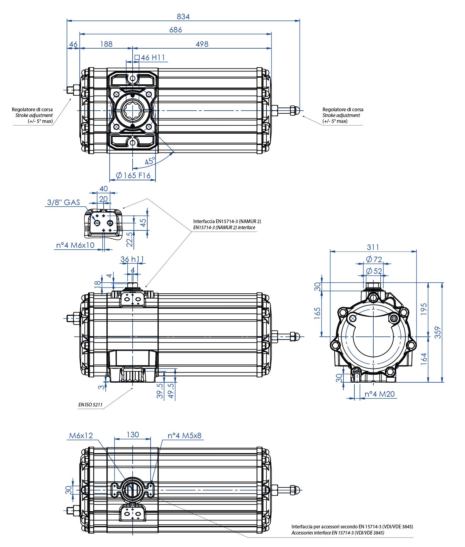 Aluminium GS (spring return) pneumatic actuator - dimensions - Spring return pneumatic actuator size GS1440 (Nm)