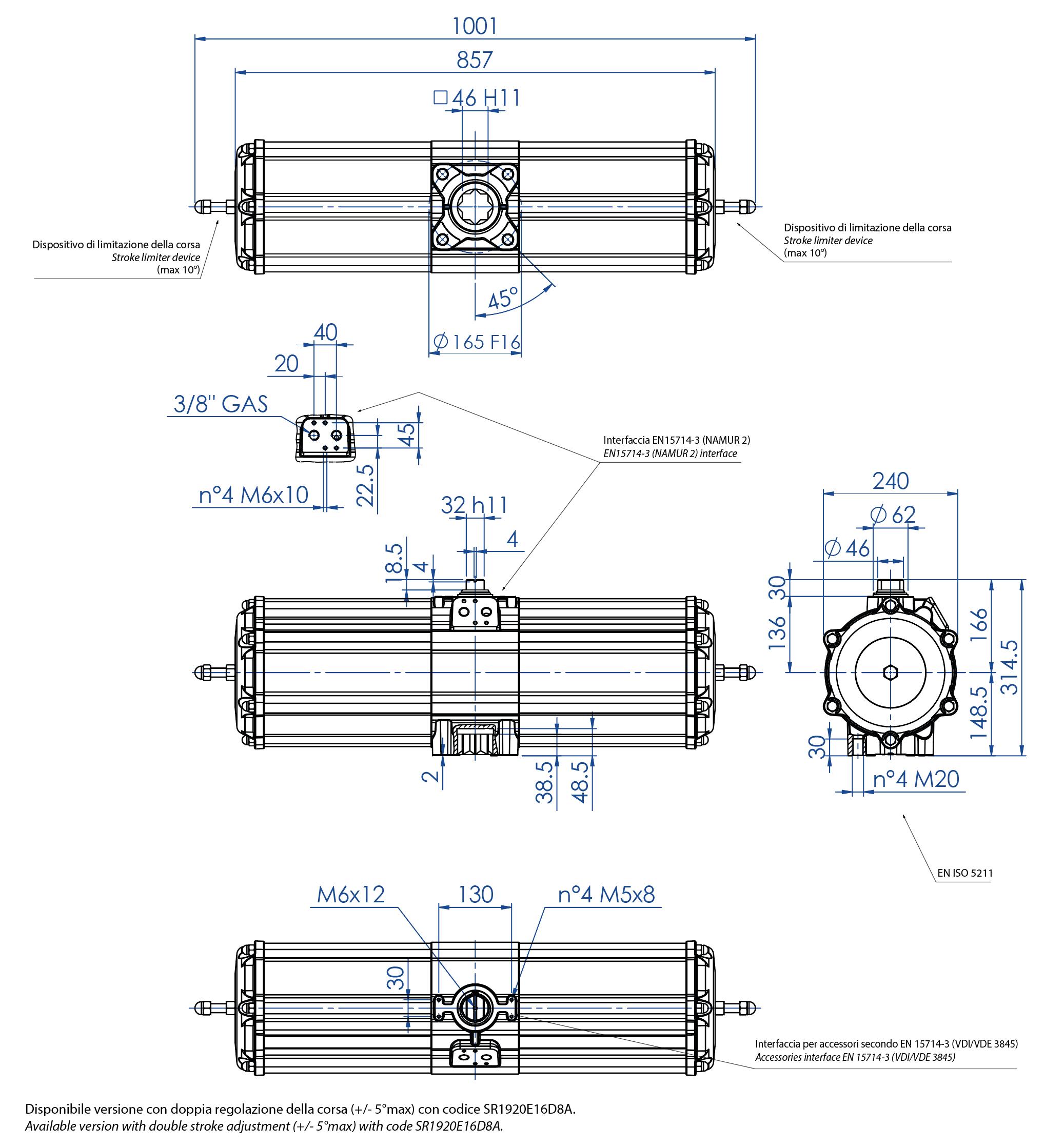Aluminium GS (spring return) pneumatic actuator - dimensions - Spring return pneumatic actuator size GS1920 (Nm)