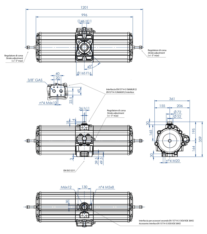 Aluminium GS (spring return) pneumatic actuator - dimensions - Spring return pneumatic actuator size GS2880 (Nm)