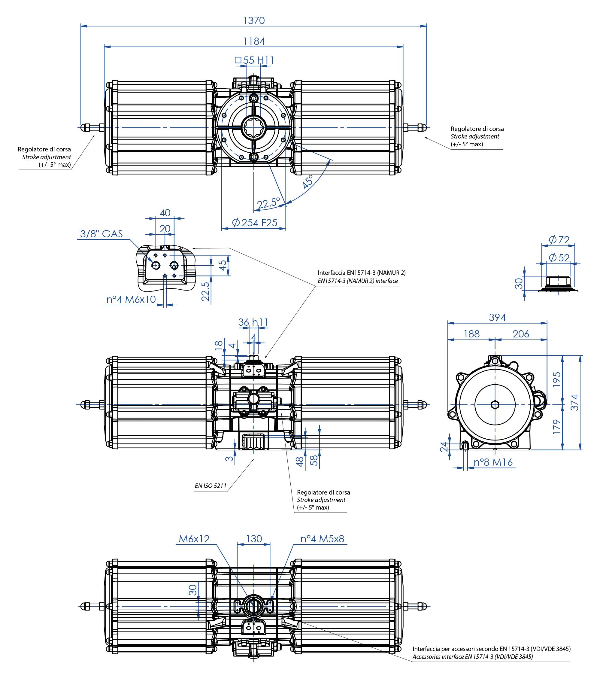 Aluminium GS (spring return) pneumatic actuator - dimensions - Spring return pneumatic actuator size GS4000 (Nm)