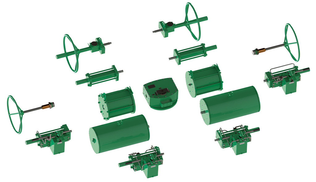 GS (spring return) pneumatic actuator Heavy Duty carbon steel - accessories - Modular Constuction Design